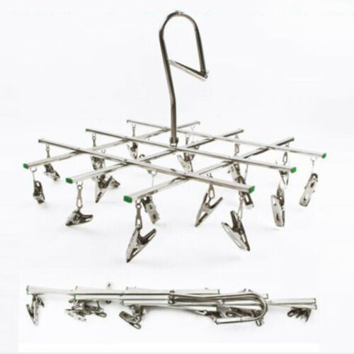 Stainless Steel 10//20-Clips Clothes Laundry Rack Hangers Socks Drying Shelf New