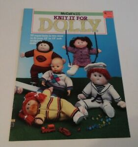 McCall-039-s-Craft-Book-Knit-It-For-Dolly-Cabbage-Patch-Kids-16-034-to-19-034-Mint