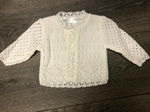 Prem small tiny newborn Baby babies girl GIRLS WHITE CARDIGAN knit cardi  5-8lbs