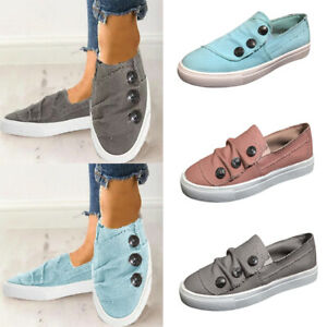 Womens-Button-Round-Toe-Slip-On-Sneakers-Espadrille-Flat-Walking-Shoes-Size-6-9