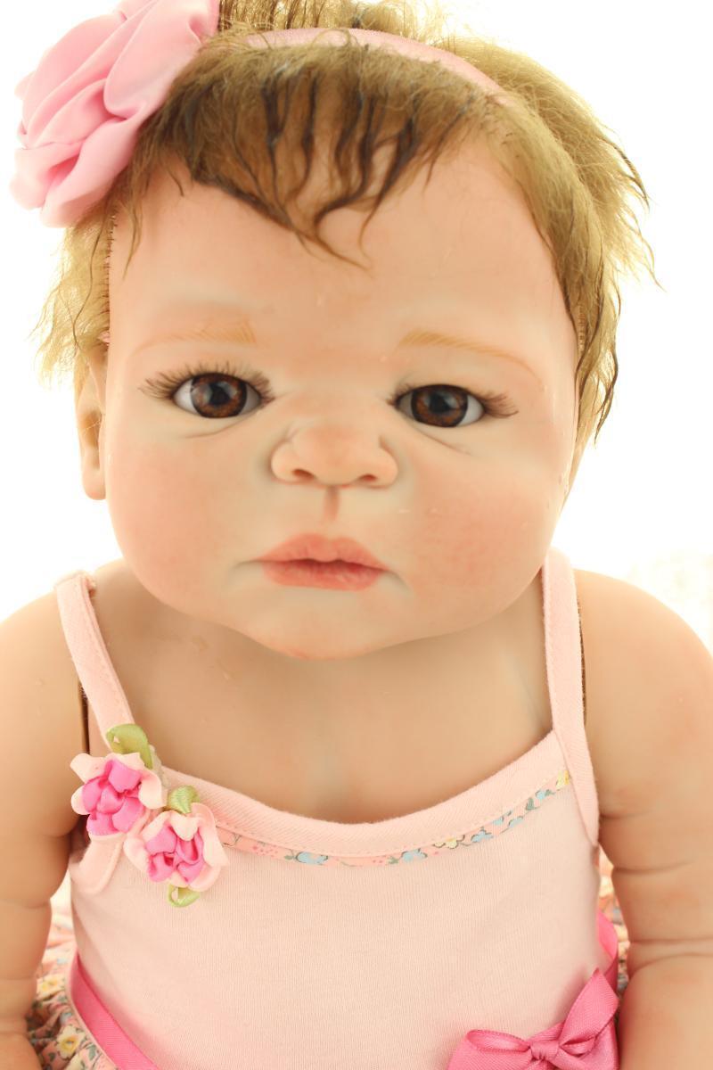 23  Full Body Silicone Reborn Baby Doll Girl Lifelike Baby Doll Kids Bambole