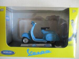 Scooter Miniatura Vespa 150 Cc Blu WELLY IN Scatola Vetrinetta 1/18