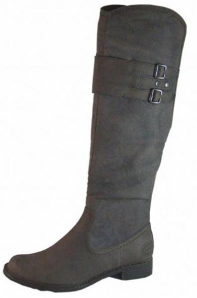 marron faux cuir dames bottes hautes et plates boucles nouveau réduit rrp