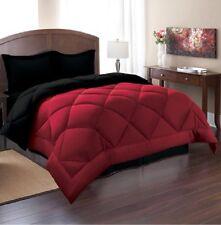 King Reversible Comforter Set 3 Piece Bed in a Bag Bedding Bedspread Red Black