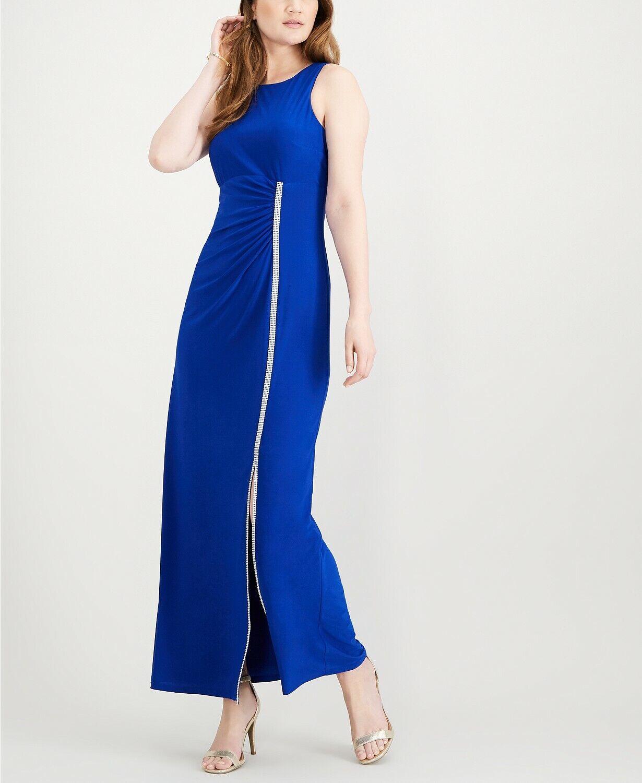 MSK damen Blau EMBELLISHED RUCHED SLEEVELESS SLIT FORMAL DRESS Größe 16