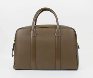 New-TOM-FORD-039-Buckley-Trapeze-039-Medium-Brown-Pebbled-Leather-Briefcase-Bag-3080