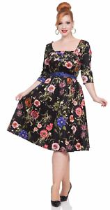 Voodoo Vixen 50s Style Allie Black Floral Flared Dress