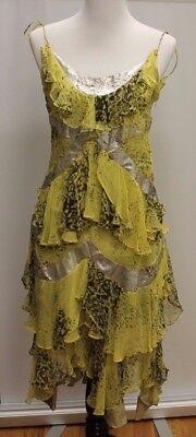 Sass Bide Ruffle Silver Metallic Flapper Dress Animal Print Ebay