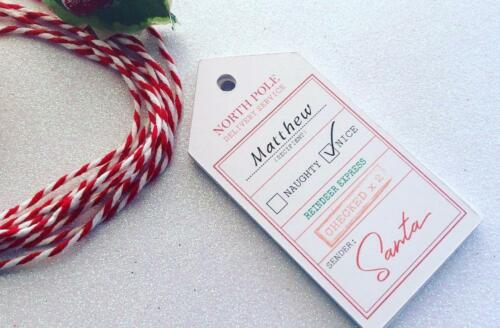 x10 Gift Tags North Pole Santa Personalised with twine for boys and girls