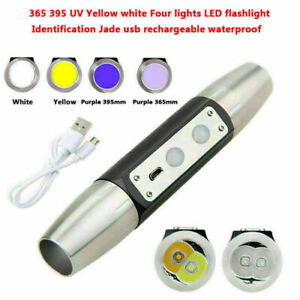 365nm 395nm UV Yellow White Light LED USB Flashlight Identification Jade Battery
