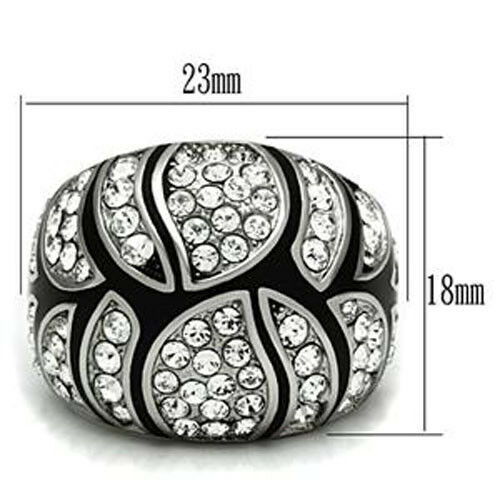 Crystal Pave Dome Silver Stainless Steel Ladies Cocktail Ring