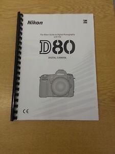 nikon d80 digital camera fully printed instruction manual guide 162 rh ebay co uk nikon d800 instruction manual nikon d800 instruction manual pdf