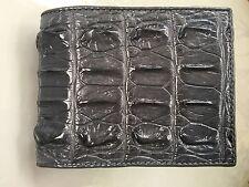 100% Genuine crocodile tail skin leather bifold men grey wallet