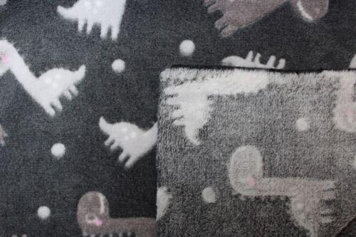 150 cm doubleface Fleece Jaquard Druck Dinos Quality Textiles grau//hellgrau