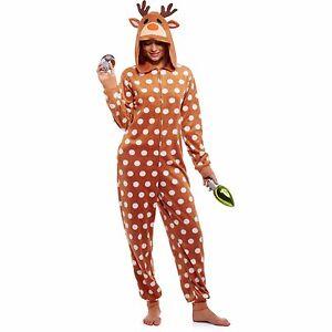 info for c57c5 6a267 Details zu Neuer Frauen Weihnachten Regen Reh Kostüm Critter Kapuze  Einteiler Pyjama S M L