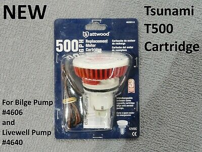 Attwood Boat Marine Tsunami Replacement Motor Cartridge Only For T500 500GPH