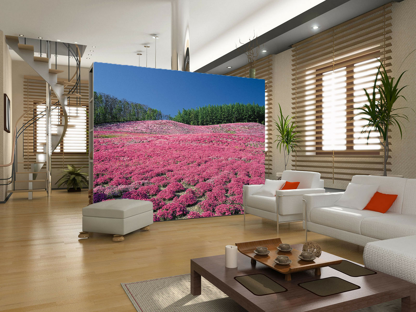 3D Baum pink bluemenfeld 74 Tapete Wandgemälde Tapete Tapeten Bild Familie DE