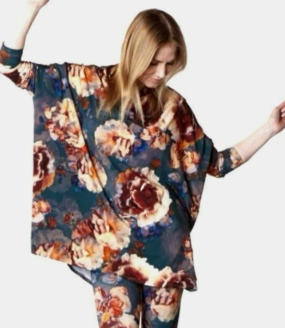Bryn Walker Dimitri Fiori Floral Print Tunic Top Jersey Medium NWT  New M