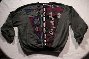Vintage-St-Croix-Knits-cavato-Pullover-abstrakte-Bill-Cosby-mehrfarbige-Biggie-L