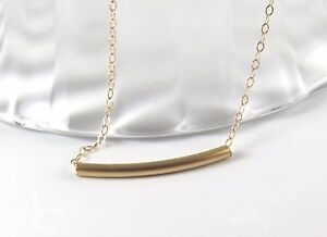 14k Gold Fill Layering Jewelry Delicate Gold Tube Necklace Curved Bar Necklace
