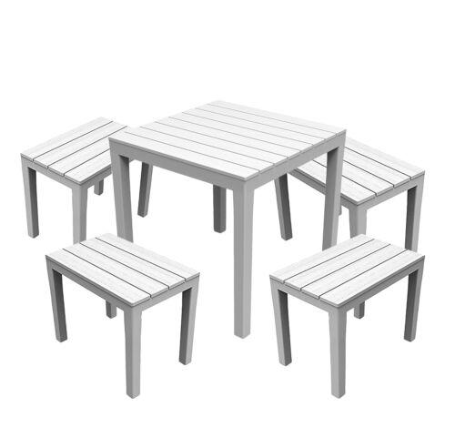 4 Bancs Blanc Mojawo ® 5 pièces bistrot salon de Table en Plastique 78 x 78 cm