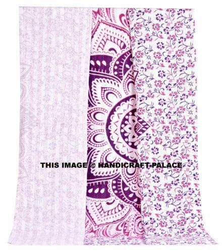 Ombre Throw Kantha Quilt Indian Handmade Cotton Bedspread Mandala King Bedding
