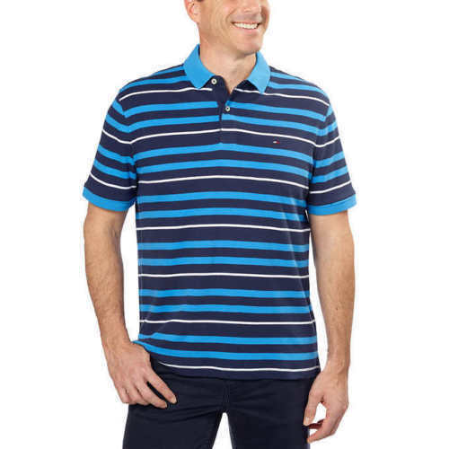 0ea579cc Buy Tommy Hilfiger Core Knitted Pique Polo Shirt Navy Striped 2xl online |  eBay