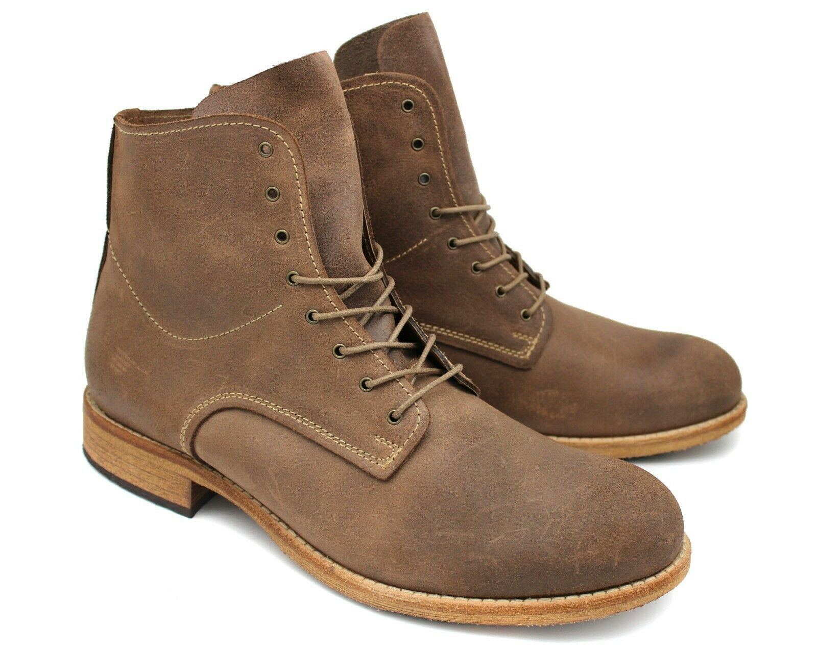 *C48 UK 10 NEW LACUZZO BEIGE BROWN ITALIAN LEATHER HIGH TOP COMBAT BOOTS EU 44