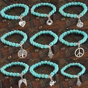 Turquoise-Stone-Bracelet-Beads-Chain-Pendants-Heart-Dog-Paws-Charms-Bangle-Gifts