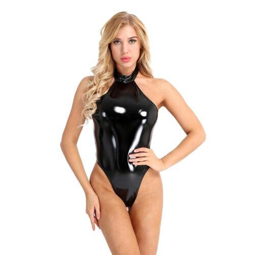 Women/'s Halter Backless Leotard Latex Bodysuit Catsuit Wetlook Jumpsuit Romper