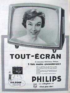 PUBLICITE-DE-PRESSE-1958-TELEVISEUR-PHILIPS-TOUT-ECRAN-ADVERTISING