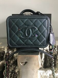 526da04c71a1 Image is loading CHANEL-IRIDESCENT-RAINBOW-VANITY-CASE-TURQUOISE-CAVIAR- FILIGREE-