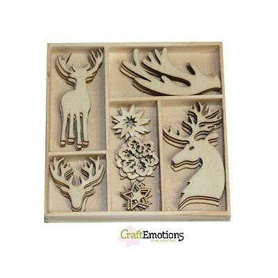 Craft Emotions BOX of 35 WOODEN SHAPES ORNAMENTS  REINDEER 811500/0141