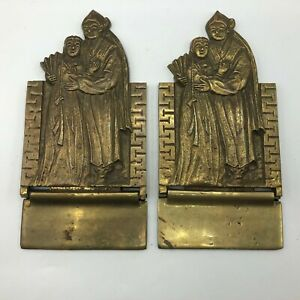 Vintage Asian Folding Bookends One Pair Heavy Metal Brass Tone   H5