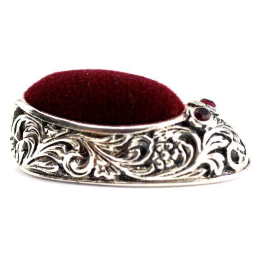 MINIATURE VICTORIAN STYLE SHOE PIN CUSHION WITH RUBY IN BOW 925 STERLING SILVER