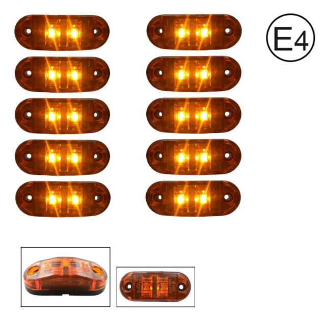 10x 12V 2 LED Orange Begrenzungsleuchte Umrissleuchte Positionsleuchte E-Prüf.