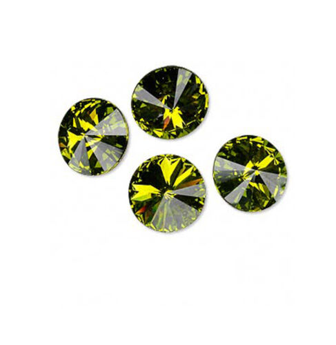 4 Olivine Swarovski Crystal Foiled 1122 Rivoli Stone Beads 14MM