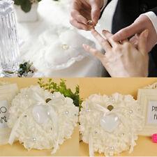 Wedding Ceremony Ivory Satin Crystal Flower Ring Bearer Pillow Cushion