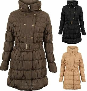 Ladies Long Sleeve Popper Zip Padded Quilted Bubble Women's Jacket Winter Coat