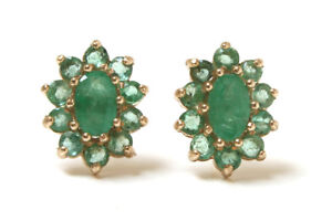 9ct-Gold-Emerald-Cluster-Oval-stud-earrings-Made-in-UK-Gift-Boxed-Christmas-Gift