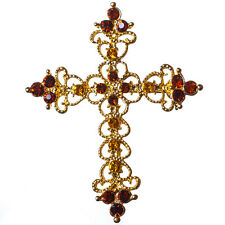 New Gold Tone Filigree Topaz Brown Crystal Cross Brooch Gothic Style