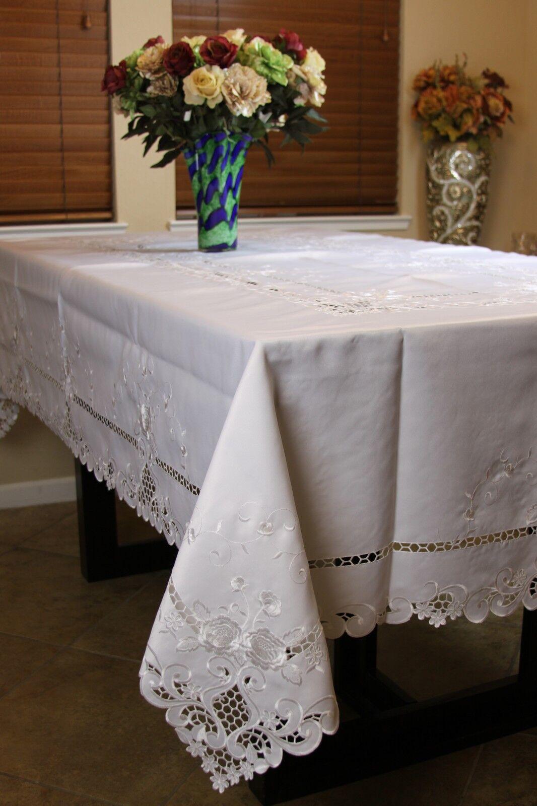 Blanc Mariage Broderie 72x108  Tissu Brodé Floral nappe 12 serviettes