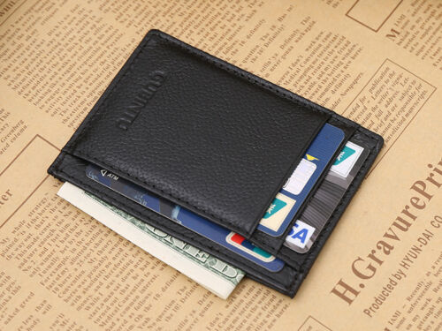 New Men Faux Leather Black Slim Money Clip Credit Card Holder ID business Wallet