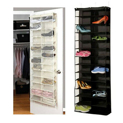 26 Pocket Shoe Rack Storage Organizer Holder Folding Hanging Door Closet + Hooks