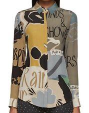 Burberry Prorsum ITALY Poet Print Blouse Long Sleeve Silk Shirt NWT$795~ 4/S/38