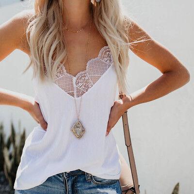 Encaje Sexy Informal Satén Tira Camisetas Tirantes Camisola Blusa Mujer 2019