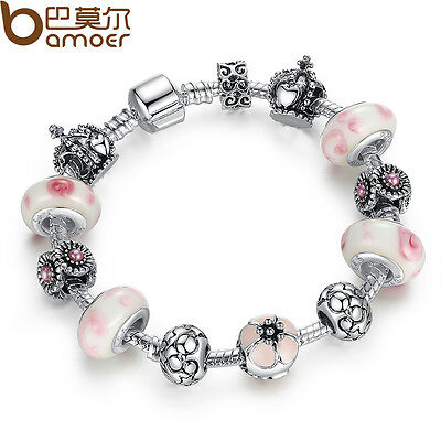 New European Silver Charm Bracelet With Crown Bead DIY Fit Women Luxury Jewelry