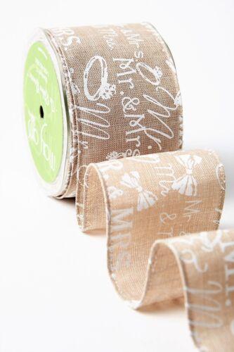 May Arts Mr /& Mrs Print 65mm Burlap Ribbon sold by the metre