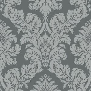 Details zu Glitzer Damast Tapete Grau/Silber - Brine Baum UK10435 Neu