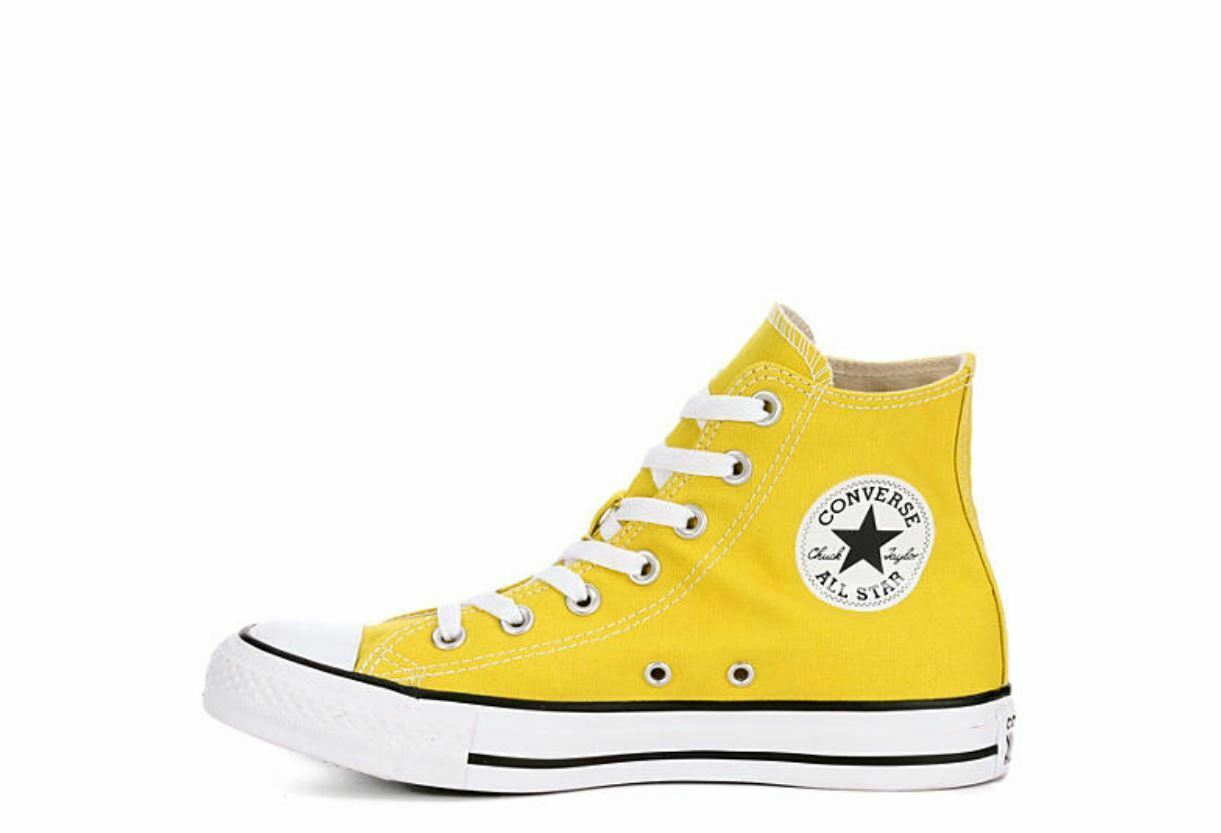 CONVERSE WOMEN'S CHUCK TAYLOR ALL STAR SEASONAL HIGH TOP - YELLOW LACE UP FRONT